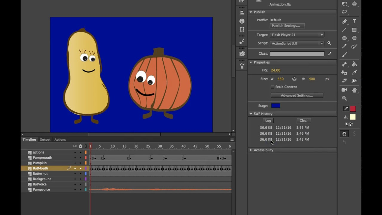 Exporting Animations from Adobe Animate CC (2017) to Video - YouTube