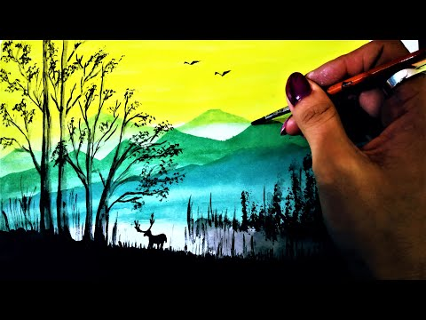 How to paint Deer in mountain scenery || Deer in Jungle || Acrylic Painting