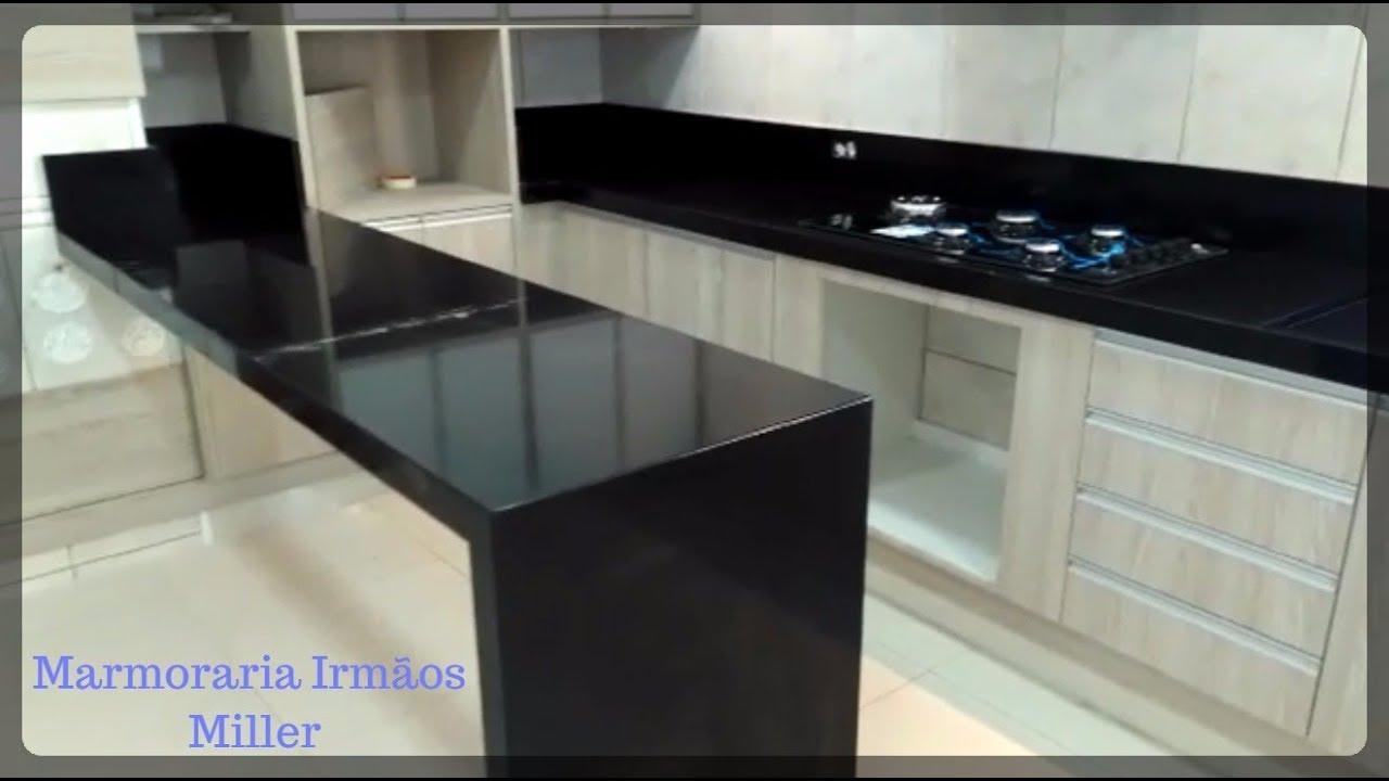 Cozinha Mesa Granito Preto Semi Absoluto Marmoraria Irmãos