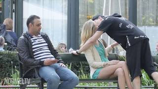Kissing prank in front of people's