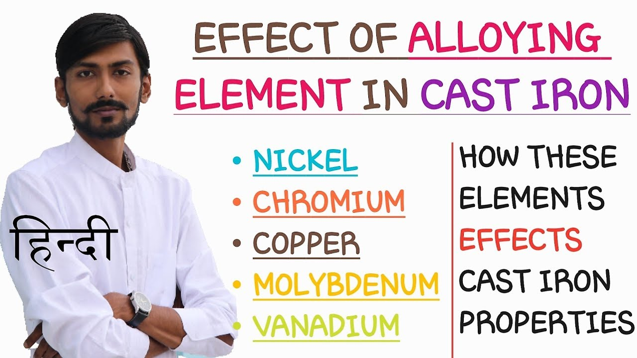 [HINDI] EFFECT OF ALLOYING ELEMENTS ON CAST IRON~EFFECTS OF NICKEL, CHROME,  COPPER etc  ON CAST IRON
