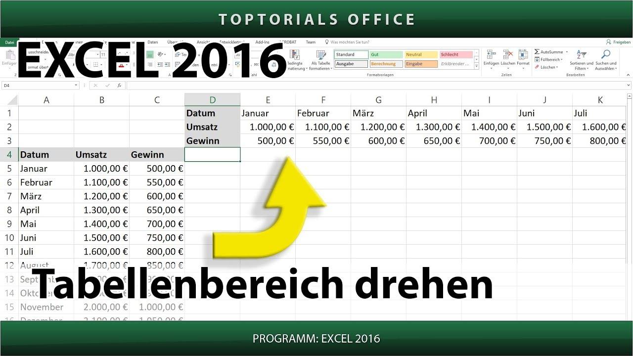 Tabelle drehen / Tabellenbereich drehen / Transponieren (Excel ...
