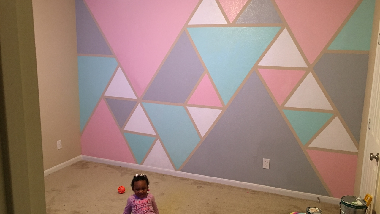 geometric wall paintDiY How to paint a geometric triangle accent wall  YouTube