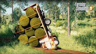 Dachowanie w Lesie z Belkami Siana  Rolnicy Mechanicy ⭐️ Farming Simulator 19