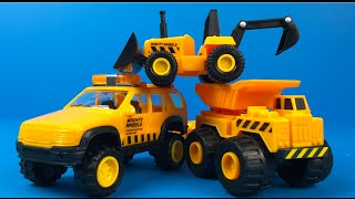 Justkidz Mighty Wheels construction company construction toy truck bulldozer loader dump truck