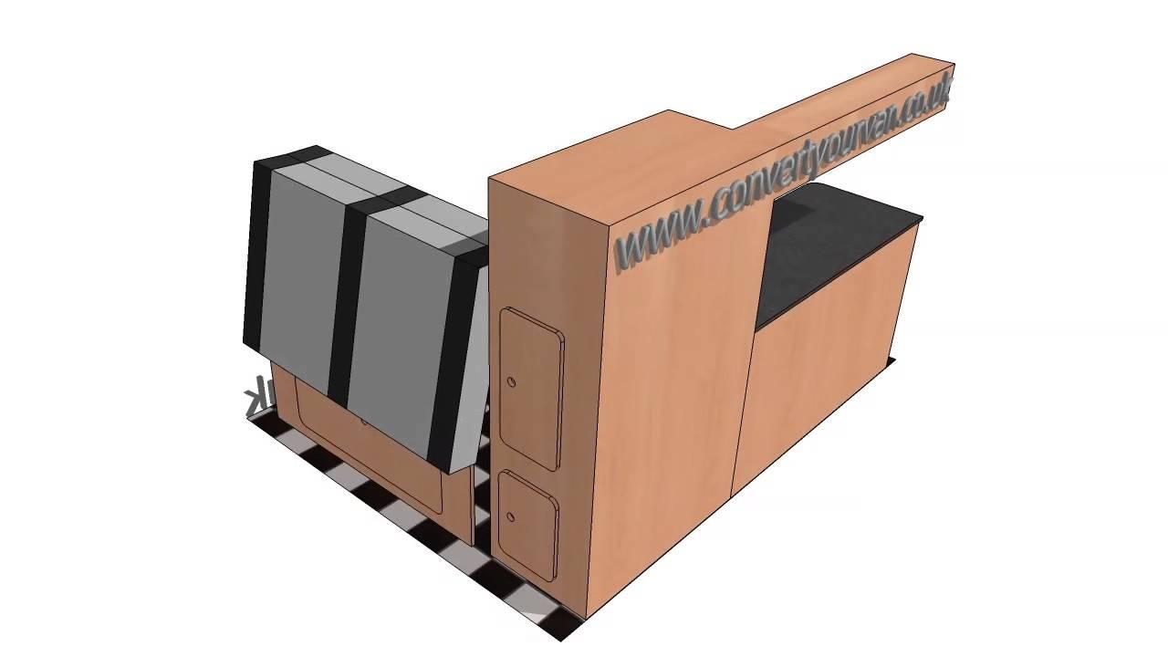 Vw surf van campervan side conversion layout to suit t5 t4 vivaro vito youtube - Idee van eerlijke lay outs ...