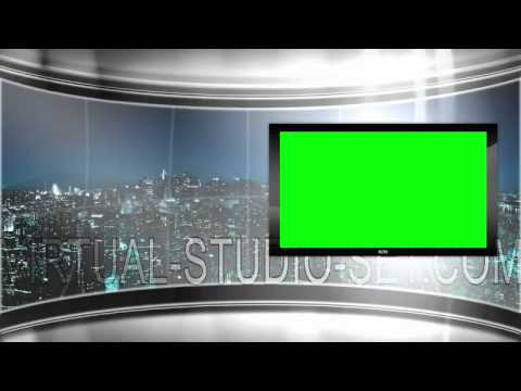 HD Virtual TV studio news set with city skyline in the background ...