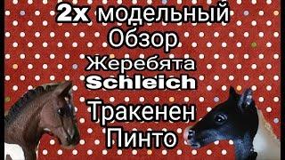 2x модельный обзор 20 / жеребята schleich / тракенен и пинто