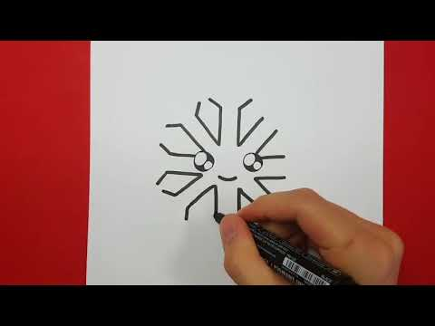 Come Disegnare Un Fiocco Di Neve Su Un Foglio Di Carta Da Disegno