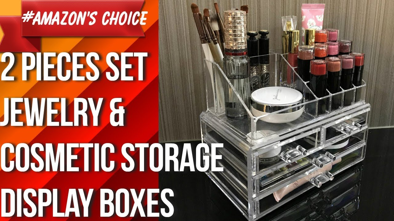 Ikee Design Acrylic Jewelry Cosmetic Storage Display Boxes Two Pieces Set Youtube
