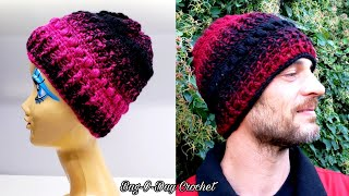 7122eb4ff53593 How To Crochet A Unisex Beanie Hat   His & Hers   Bagoday Crochet Tutorial #
