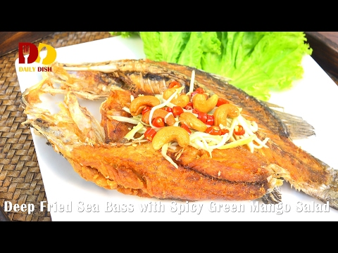 Deep Fried Sea Bass With Spicy Green Mango Salad (Thai Food) ปลากระพงทอดยำมะม่วง