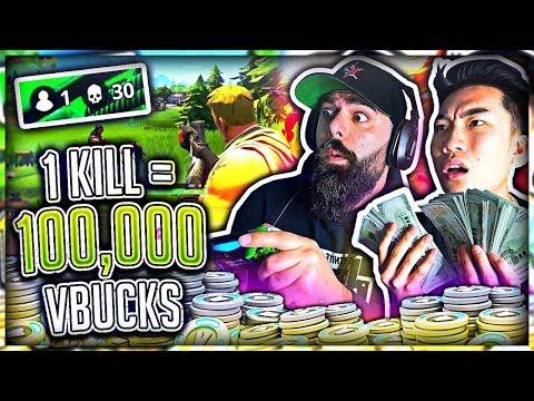 1 Kill = 100,000 V-Bucks in Fortnite w/ My Dad (Battle Royal)