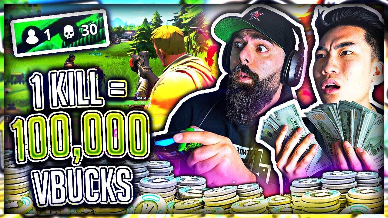 1 Kill = 100,000 V-Bucks in Fortnite w/ My Dad