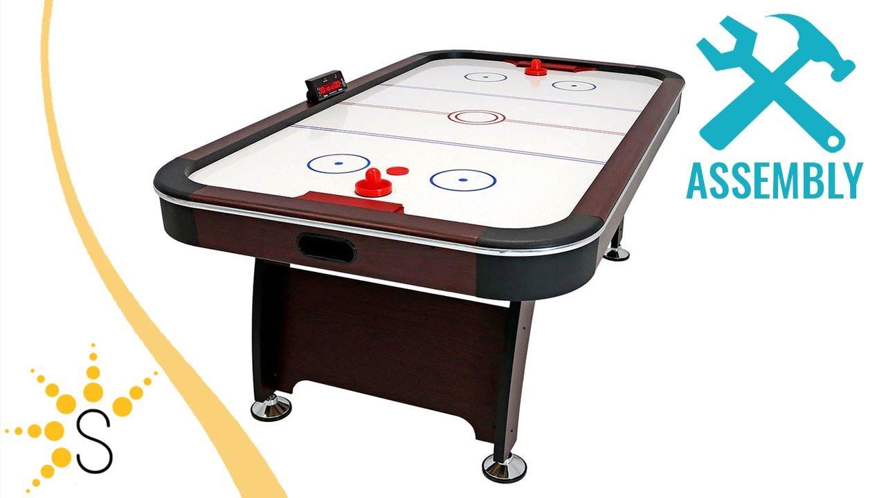 "NEW Franklin Sports 48/"" Electronic Scoreboard Straight Leg Air Hockey Table"