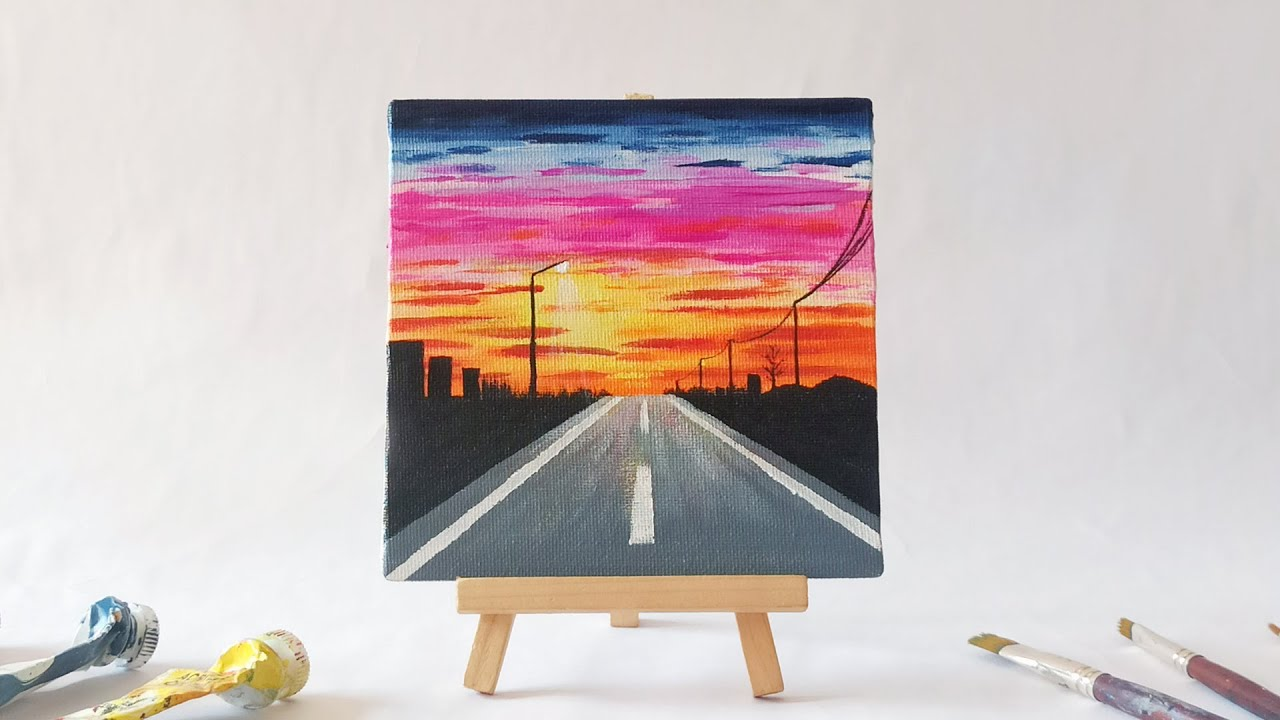 Sunset Road Acrylic Painting For Beginners Easy Mini Canvas Tutorial Youtube
