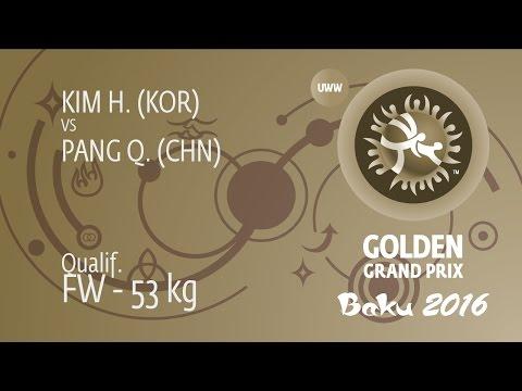 Qual. FW - 53 Kg: Q. PANG (CHN) Df. H. KIM (KOR) By FALL, 2-0