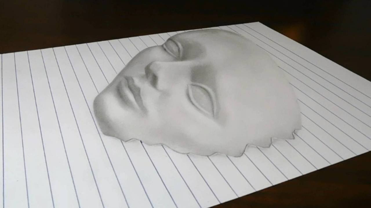 D Line Drawings You Tube : Drawing a d face on line paper trick art youtube