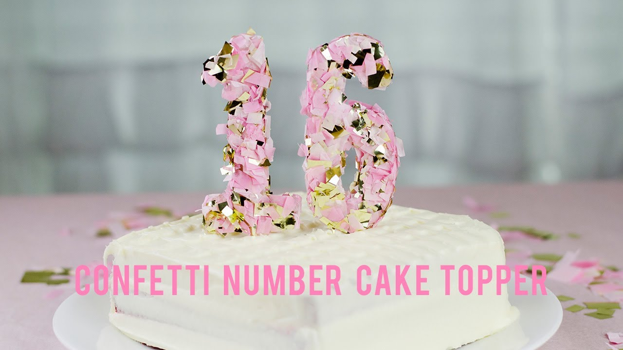 DIY CONFETTI NUMBER CAKE TOPPER