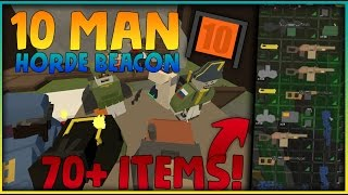 10 MAN VANILLA HORDE BEACON! 70+ ITEMS! - Unturned Vanilla Survival