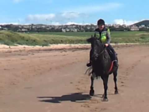 Iain and Julie riding at ardneil bay