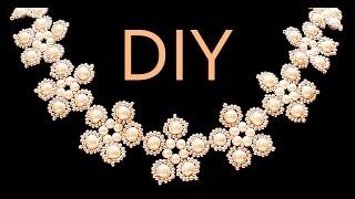 DIY: Flower style wedding necklace made of beads / Свадебное колье в цветочном стиле из бусин