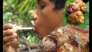 Primitive technology:Cooking Mozzarella Cheese Sticks Inside  Fish Mix pork Fried |Cuisine Factory