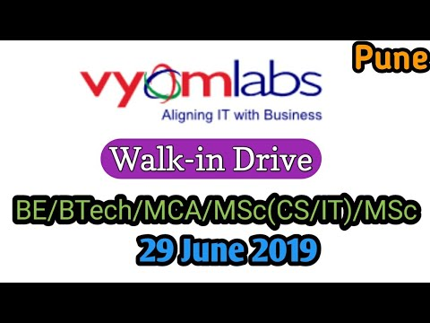 Walk-in Drive At Vyom Labs |Freshers |29 June 2019 | Learning Phase