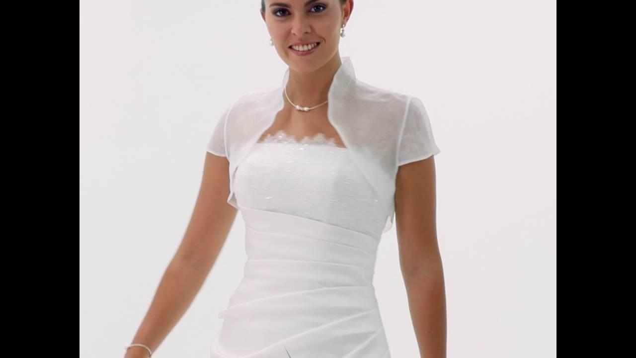 bolero mariage organza ivoire manches courtes luna - Bolro Mariage Ivoire