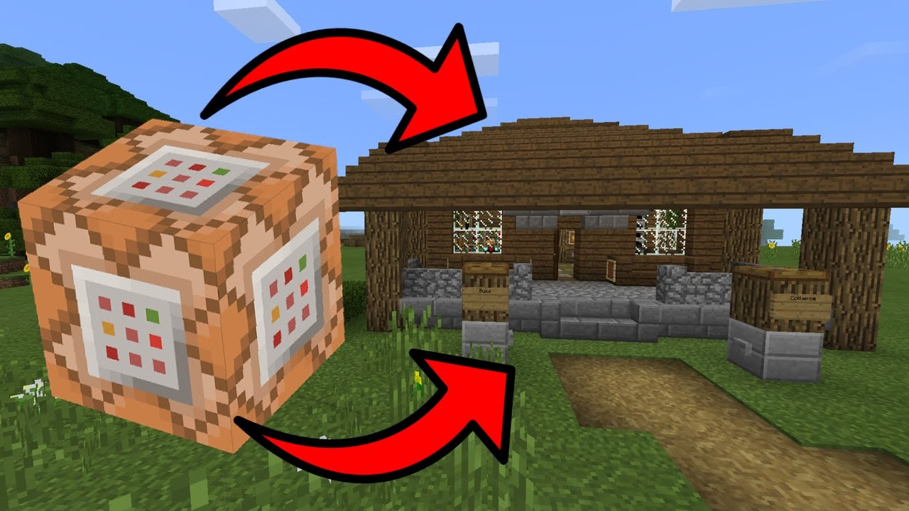 How To Build A House With The Command Block In Minecraft Pocket Edition  Self Building House Map