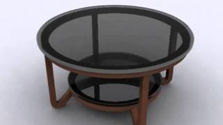 Round Glass Top Coffee Table With Open Storage