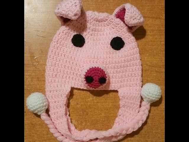 Cappellino Neonato Alluncinetto Maialino Crochet Baby Hat