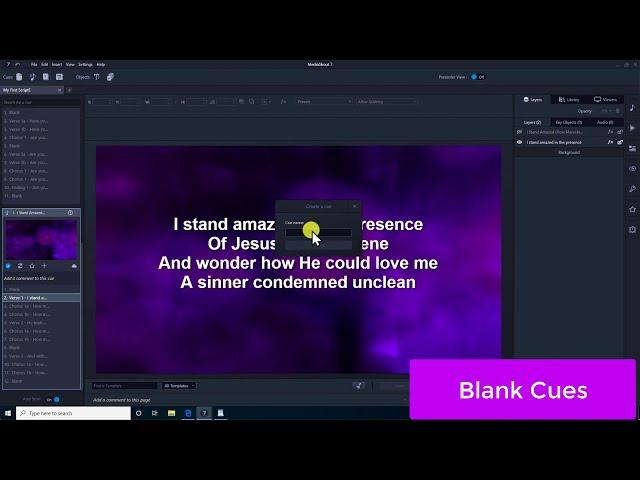 MediaShout 7 - Blank Cues