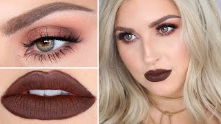 Brown Lipstick Makeup Tutorial ♡ Warm Brown Sultry Smokey Eye thumbnail