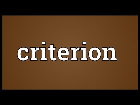 Criterion Meaning