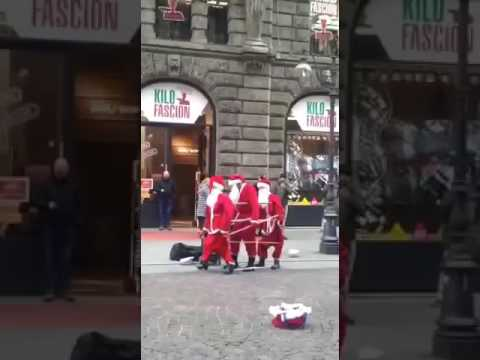 Dancing Santa Claus on Street