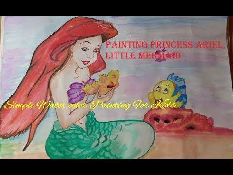 How to draw: Princess Ariel|| Little Mermaid Princess|| Easy Watercolor Princess mermaid||