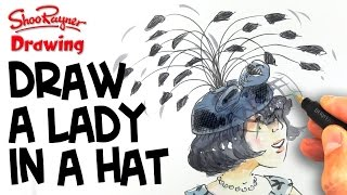 How to draw a cartoon Lady in a Hat