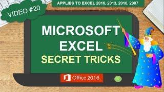 MICROSOFT EXCEL SECRET TRICKS TO MAKE YOU AN EXCEL EXPERT | EXCEL 2016 2013 2010 2007 (#20)