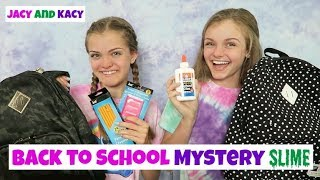 Back to School Mystery Slime Challenge ~ Jacy and Kacy