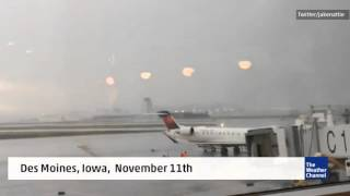 VIDEO Air Stairs Crash Into Plane On Windy Tarmac