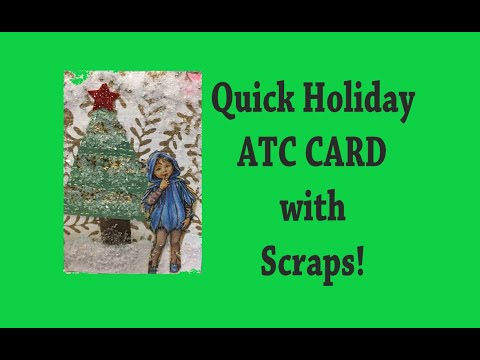 Quick Holiday ATC CARD with Scraps! #atc #artisttradingcard #tutorial thumbnail