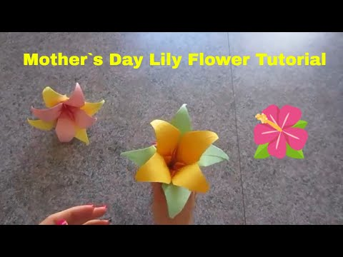 Mother`s Day Lily Flower Origami Tutorial 5 minute crafts