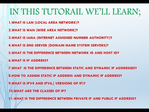 What is LAN , WAN , IANA , IP ADDRESS , TYPES OF IP . VERSIONS OF IP , CLASSES OF IP , DNS SERVER