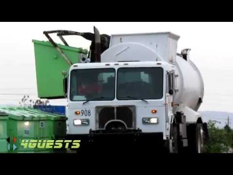 GARBAGE TRUCKS IN ACTION VIDEO (RECYCLING BINS)