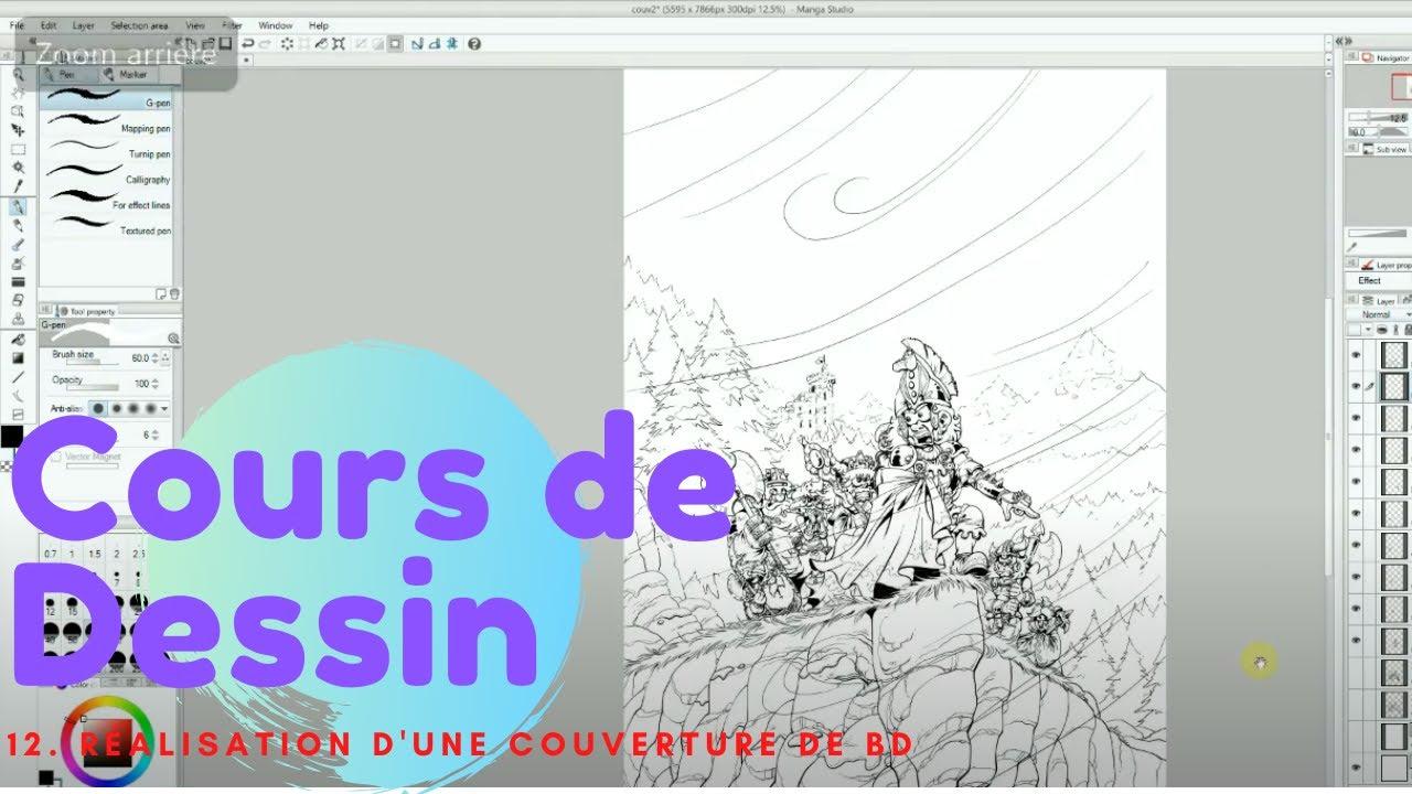 Cours de dessin numéro 12 - réalisation d'une couverture - YouTube