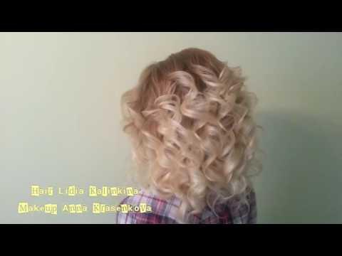 Локоны на среднюю длину волос,  локоны утюжком