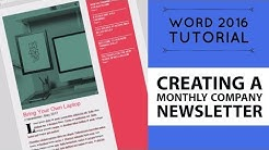 Creating a monthly company newsletter - Word 2016 Tutorial [11/52]