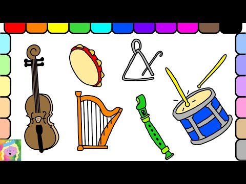 Learn How To Draw And Color Musical Instruments And Learn Colors With This Fun Kids Coloring Page