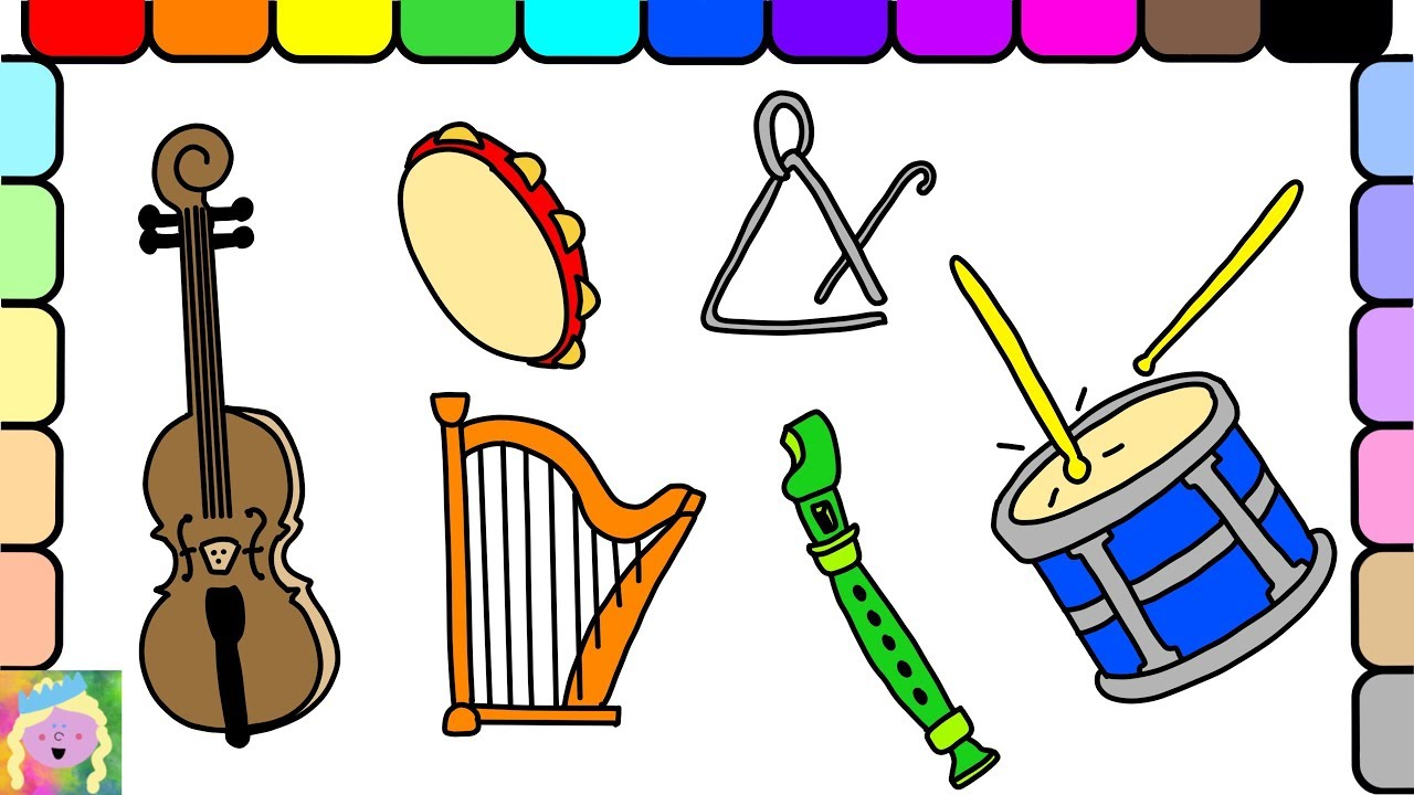 learn how to draw and color musical instruments and learn colors
